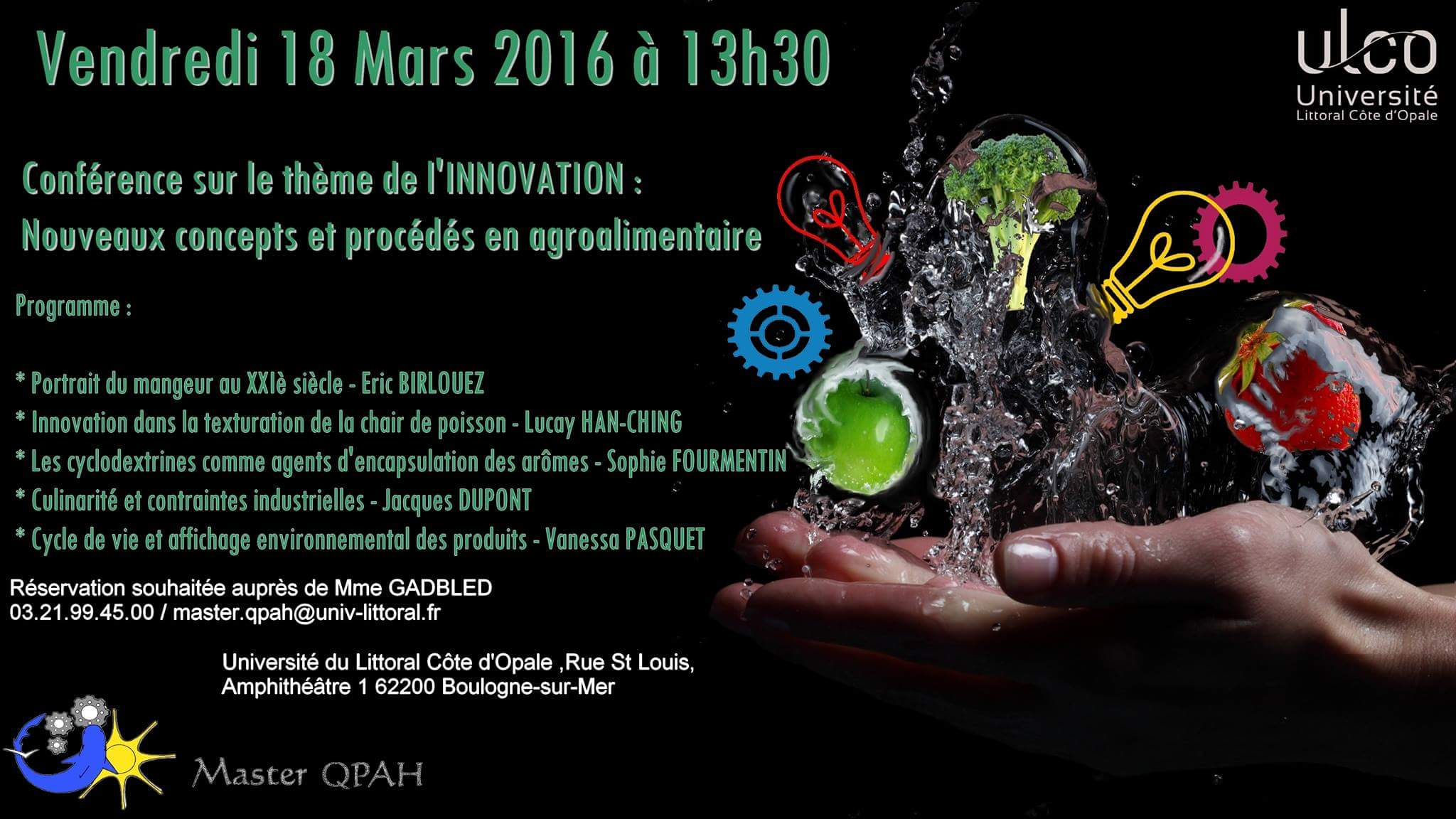 affiche conférence Innovation Master QPAH 16